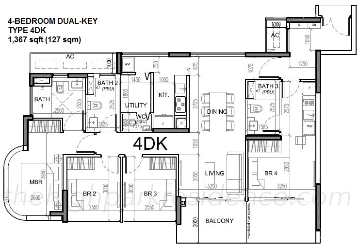 High Park Residence Floor Plans 4 Bedroom Dual Key