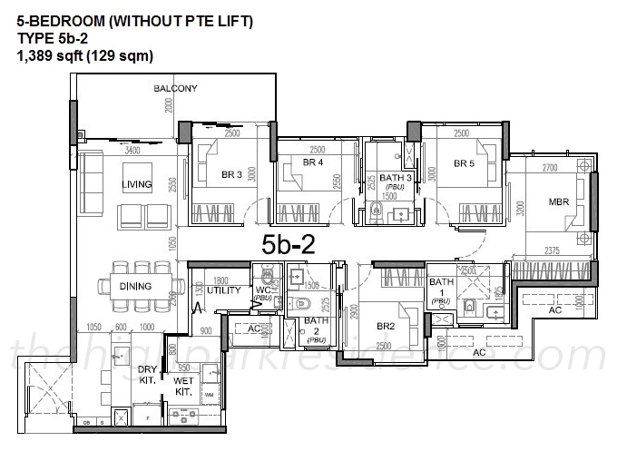 High Park Residence Floor Plan Draft 5 Bedroom