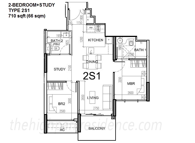 High Park Residences Floor Plan 2 Bedroom + Study