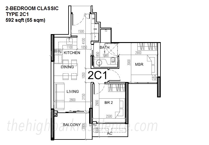 High Park Floor Plans 2 Bedroom Type 2C1